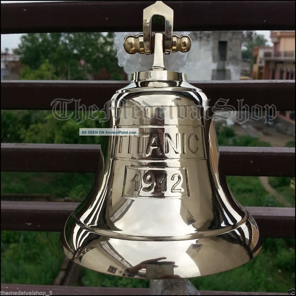 Antique Style Solid Brass Marine Ship Bell Vintage Nautical Decor Wall Mounting Bells & Whistles photo