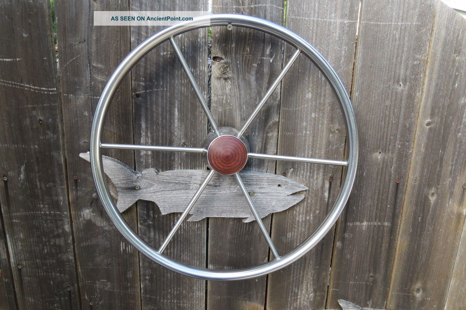 Authentic 18,  Inch Stainless Steel Boat Ships Wheel Sailboat Decor (583) Wheels photo