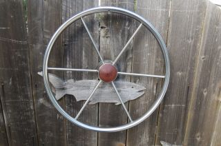 Authentic 18,  Inch Stainless Steel Boat Ships Wheel Sailboat Decor (583) photo