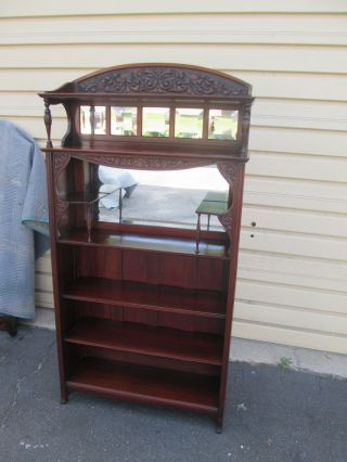 57031 Antique Victorian Bookcase Curio Shelf photo