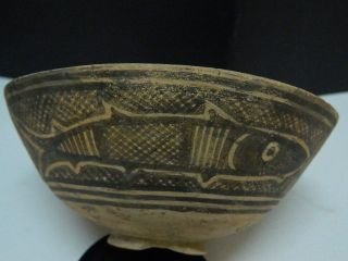 Ancient Teracotta Painted Bowl With Fishes Indus Valley 2500 Bc Pt15323 photo
