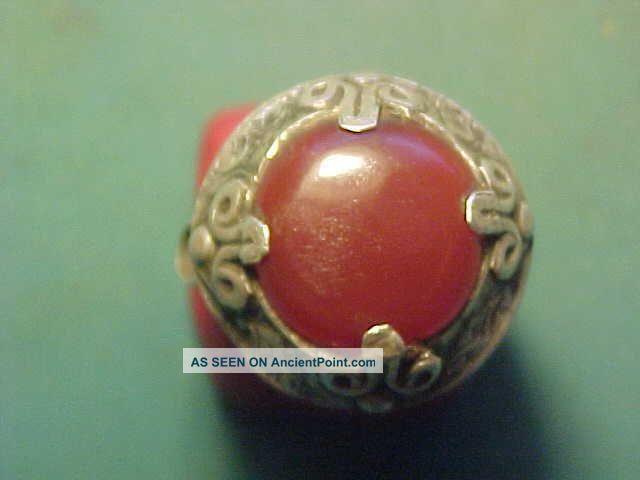 Near Eastern Hand Crafted Solid Silver Ring With Carnelian Stone Circa 1700 - 1900 Near Eastern photo