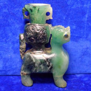 Antique Hand Carved Chinese Jade / Jadeite / Soapstone Foo Dog Lion - photo