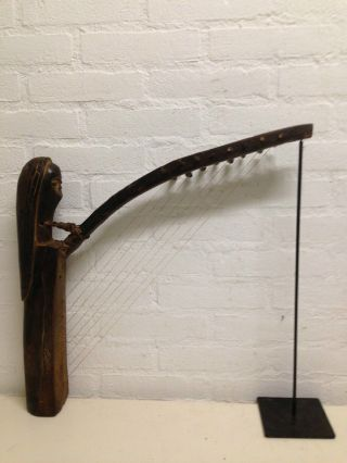 Gabon: Old Tribal African Harp From The Fang. photo