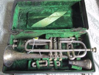 C.  G.  Conn Wonder Cornet 1915 Case & Accessories Serial 142319 photo