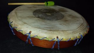Atzec Shamanic Ayacahuite Wood Drum Mexican Latin Musical Percussion Instrument photo