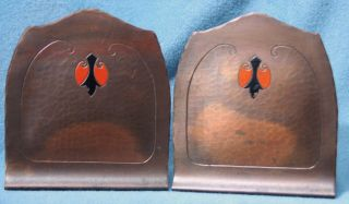 Vintage Hammered Copper Craftsman Studios Laguna Beach Bookends photo