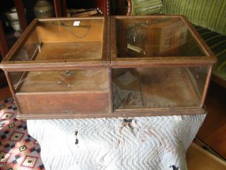 Antique Solid Oak Show Case With Mechanical Cash Draw Very Unusual Dated 1894 photo