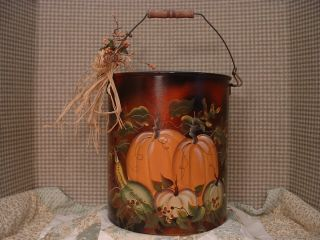 Vintage Kitchen Kettle,  Halloween,  Autumn Pumpkins Hand Painted Folk Art By Jmd photo