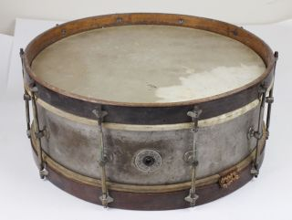 "Antique 16"" Duplex Snare Drum Belonged To Bert Cole - Minstrel/vaudeville/circus photo"