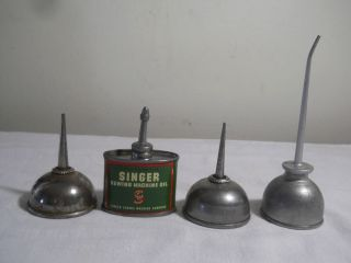3 Antique Singer Sewing Machine Squirt Oil Cans And 1 Other Small Squirt Can photo