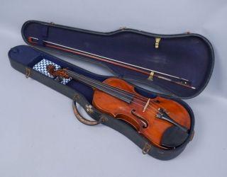 Antique Early 19c Violin W Faux Label Of Antonio Maria Lansa Adolf Schuster Bow photo