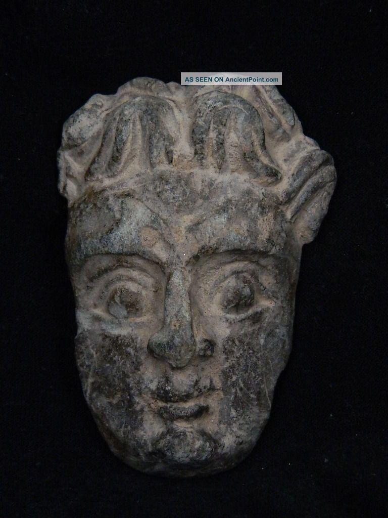 Ancient Schist Stone Atlas Face Gandharan/gandhara 100 Ad Stn15003 Near Eastern photo
