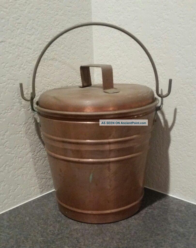 Smith & Hawken Hearthside Fireplace Ash Bucket Copper With Patina Rare Hearth Ware photo