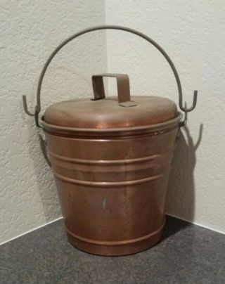 Smith & Hawken Hearthside Fireplace Ash Bucket Copper With Patina Rare photo