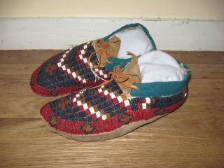 Pre - 1935 Blackfoot Northern Plains Indian Beaded Leather Adult Moccasins photo