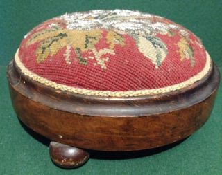 Victorian Beaded Berlin Woolwork Ladies Footstool Bun Feet Knealing Stool photo