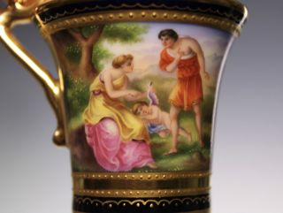 Royal Vienna Hand Painted Gold Cobalt Jupiter Callisto Porcelain Cup And Saucer photo