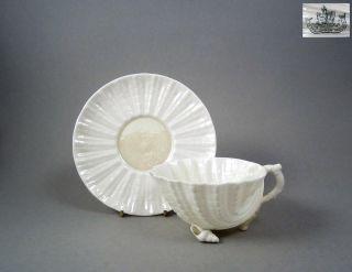 Antique Handpainted Irish Porcelain Neptune Tea Cup Saucer Duo Belleek 1891 - 1926 photo