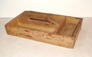 Antique / Vintage Wooden Divided Cutlery Tote,  Carrier 15