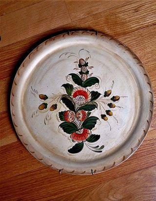 Tray Platter Wood Tole Toleware Pennsylvania Dutch Hand Painted Vintage photo