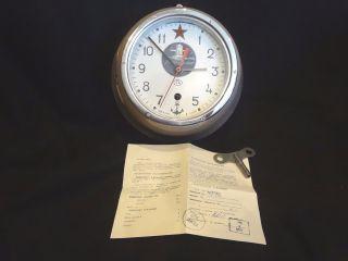 Russian Soviet Submarine Marine Ship Wall Clock Kaughqupcke Ussr W/key & Papers photo