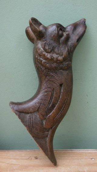 19thc Black Forest Oak Carved Fox Head Corbel C.  1870 (3) photo
