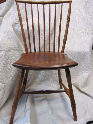 Early 19th Century Windsor Side Chair Of Mixed Wood Sound Chair photo