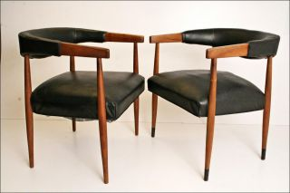 2 Vintage Danish Modern Chair Pair Arm Barrel Mid Century 60s Retro Office Eames photo