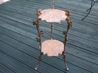 Victorian Style Cast Brass 2 Tier Table Plant Stand With Iris Flowers Rare photo