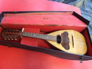 Antique Bow Back Mandolin Inlaid Wood W Hard Case Vintage C1920.  S photo