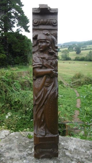 19thc Oak Corbel Of Carved Female Soldier Holding Sword & Shield C.  1860 photo