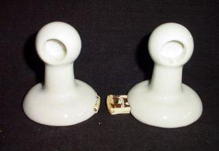 Vtg / Antq White Ceramic Porcelain Wall Mount Bathroom Towel Rack,  Glass (?) Bar photo