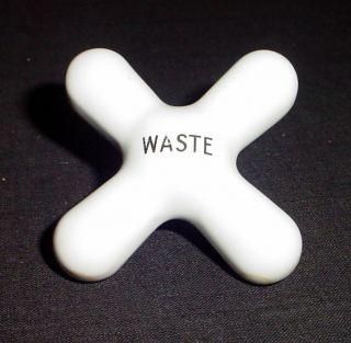 Vtg / Antq White Ceramic Porcelain Bathroom Waste Knob Handle photo
