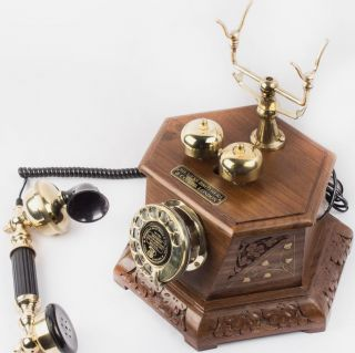 Rj11 Antique Vintage Old Style Look Six Corner Wooden Brass Telephone Tp 015 photo