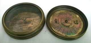 Antique Style Solid Brass Kelvin And Hughes London Compass With 40 Yrs Calendar photo