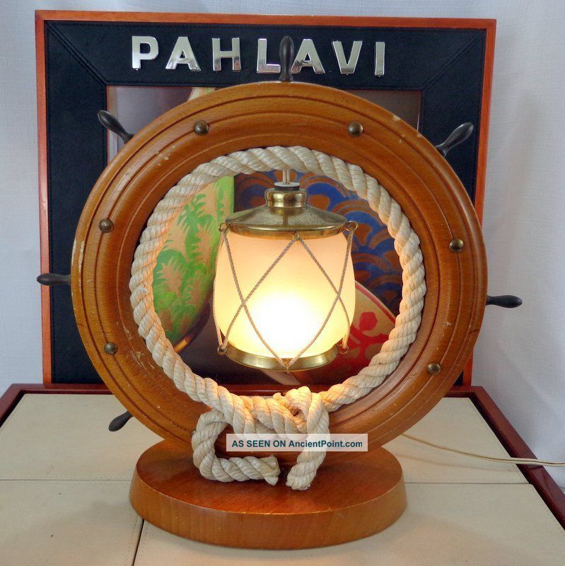 Brilliant Vintage Wheel Table Lamp Nautical Decor Vintage Ships Wood Home Remodeling Inspirations Gresiscottssportslandcom