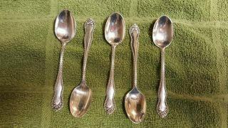 Wm.  Rogers & Son 5 Silverplate Demitasse Spoons photo