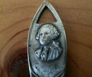Rare Old Antique President Washington Sterling Teaspoon Spoon Can Hang On Nail photo