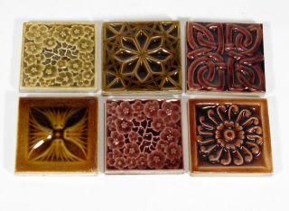 Low Art Tile Co 6 Floral & Geometric Design Assorted Glaze Tiles Arts & Crafts photo