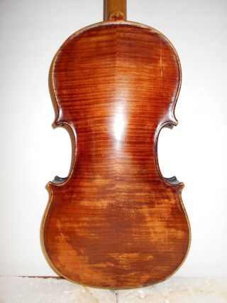 Vintage Old Antique 2 Pc Curly Maple Back Full Size Violin - photo
