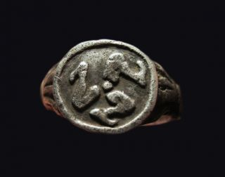 Extraordinary Ancient Silver Triskeles Ring Symbol Of Life photo