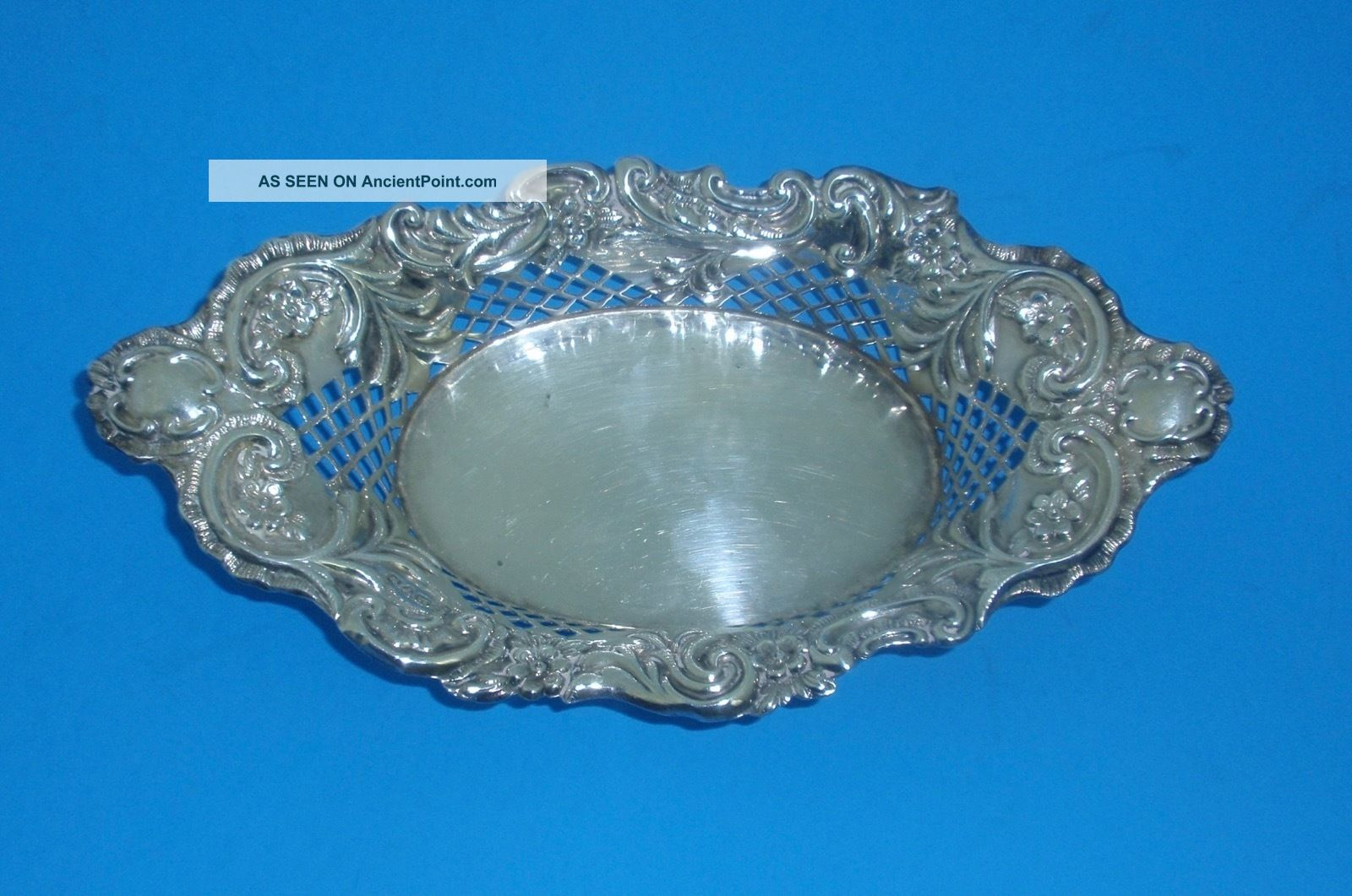 English Sterling 1907 George Nathan Ridley Hayes Pierced Floral Oval Dish Dishes & Coasters photo