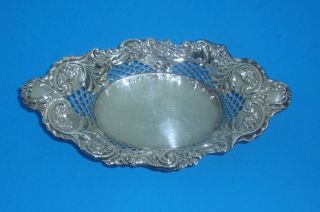 English Sterling 1907 George Nathan Ridley Hayes Pierced Floral Oval Dish photo