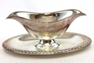 Vintage Unmarked Silver Plate Gravy Sauce Boat With Attached Tray photo