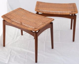 Modern Danish Design - 2 X Teak Footstools - Wegner Era photo