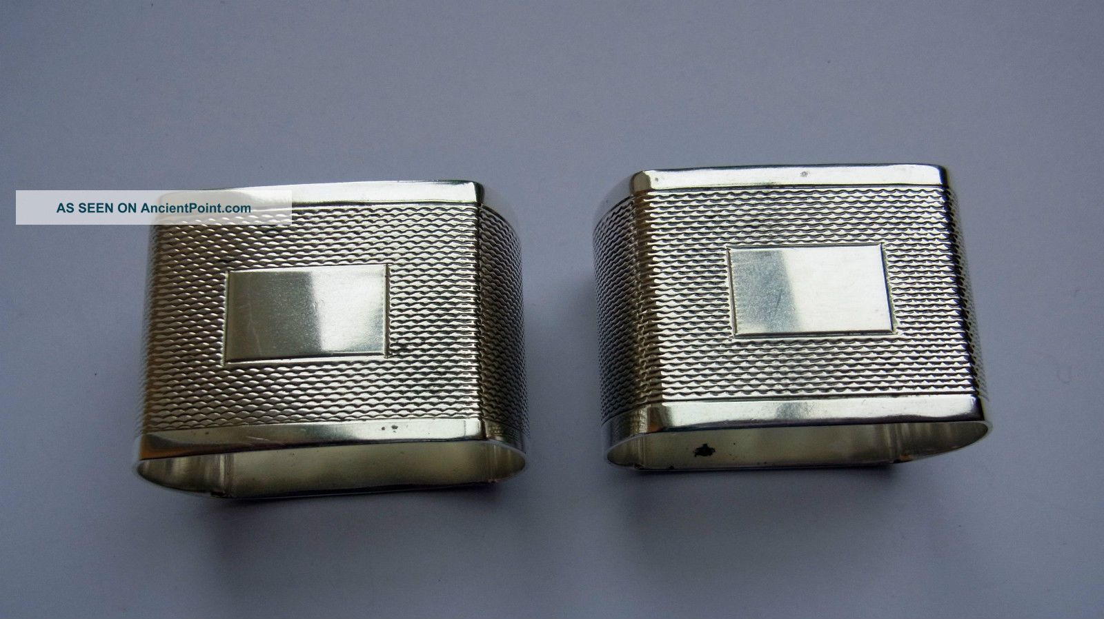 Vintage Sterling Silver Napkin Rings - Pair - Shefield 1956 - Engine Turned Napkin Rings & Clips photo