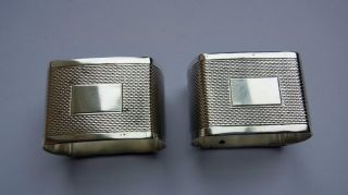 Vintage Sterling Silver Napkin Rings - Pair - Shefield 1956 - Engine Turned photo