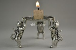 Oriental First - Rate Old Tibet Silver 3 Cat Hold Taiji Pattern Candlestick photo