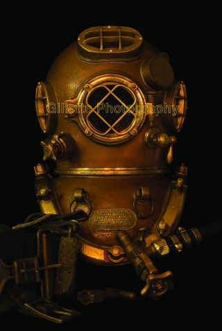 Us Navy Mk V Diving Helmet Poster - Deep Sea Salvage Commercial Military Scuba photo